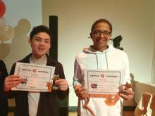 Oli and Louis receive achievement awards Alliance Living Carers Support